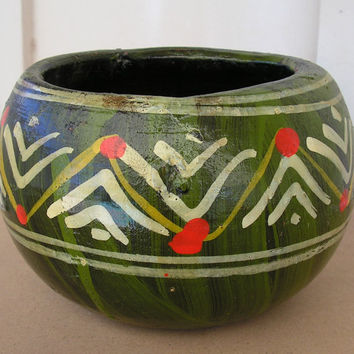 Mexican Art Pottery Planter Rustic Green Ceramic Garden Flower Plant Pot Signed MEXICO NM Primitive Southwestern Decor