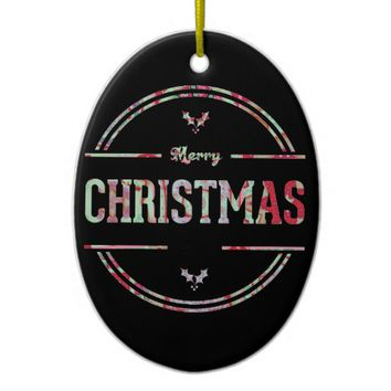 Merry Christmas Greeting Ceramic Ornament