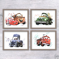 Cars poster Set of 4 Planes art print Disney wall decor Boys room decor Kids room wall art Cars and Planes Gift idea Nursery decoration V405