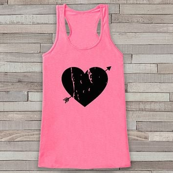 Womens Valentine Shirt - Cute Valentine's Day Tank Top - Women's Happy Valentine's Day Tank - Black Heart Valentines Shirt - Pink Tank Top