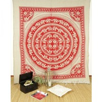 Queen Red Animal Bedspread Wall Hanging Tapestry Decorative Blanket