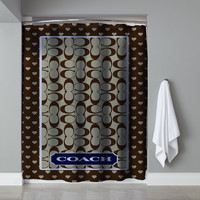 "Rare Brown Coach Custom High Quality Shower Curtain 60""x72"" Limited Edition"
