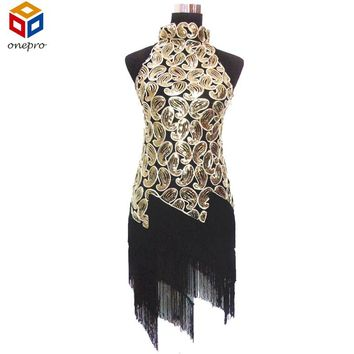 Halter Neck Vintage Women Dress 1920S Flapper Sequin Paisley Tassel Party Dress Sexy Glitter Latin Dance Dress Vestidos