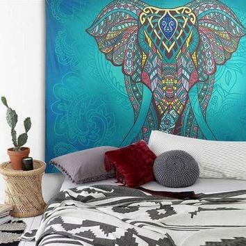 LMF9GW Elephant Tapestry Colored Printed Decorative Mandala Tapestry Indian 130cmx150cm 210x150cm Boho Wall Carpet