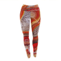 Fire Agate Rock Stone Urban Yoga Exercise Leggings