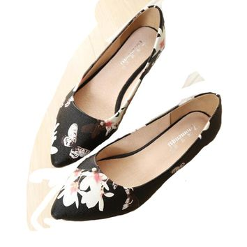 Women Flats Shoes Pig Leather Printing Flats Pointy Toe Soft  Slip On Ballerina Ballet Flats Comfy Flats Shoes  Black Size 10