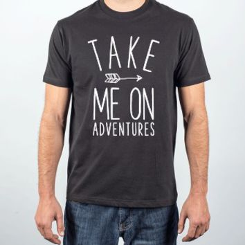 Take Me On Adventures-Unisex Black T-Shirt