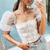 Elegant Puff Sleeve Lace Fashion Woman Blouses Sexy  Square Collar White Black Pleated Top Female
