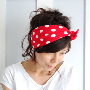 Tie Up Headscarf Red with White Polka Dot by ChiChiDee on Etsy