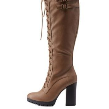 Taupe Lace-Up Knee High Chunky Heel Boots by Charlotte Russe