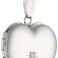 "14k White Gold Heart Locket Necklace with Diamond-Accent, 18"" - Foter"