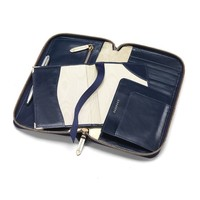 Zipped Travel Wallet with Passport Cover in Navy Lizard & Cream Suede