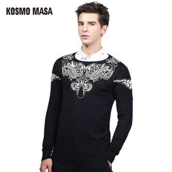 KOSMO MASA 2017 Autumn Winter Pullover Sweater For Men Brand Clothing Jumpers Jacquard Christmas Slim Fit Mens Sweaters SW0021