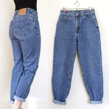 Vintage 80s 90s High Waist Stone Washed Levi's 512 Jeans - Medium Blue Rinse Tapered Leg Women's Levi's Boyfriend Jeans - Size 8