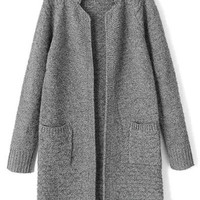 Grey Collar Long Sleeve Knitted Cardigan with Pocket