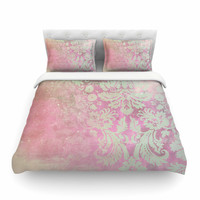 """Cafelab """"Spring Damask """" Pink White Featherweight Duvet Cover"""