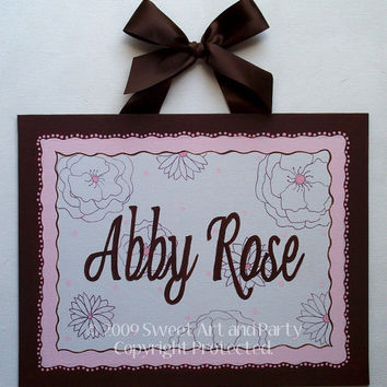 Pink brown white flower Custom Canvas letter name wall sign door art hand painted painting children kids floral
