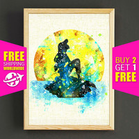 Disney Ariel Print The Little Mermaid Poster Home Decor Watercolor Art Print Wall Art Nursery Kids Decor Gift  - FERE SHIPPING -452s2g