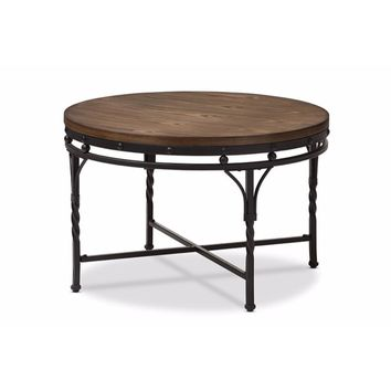 Austin Vintage Industrial Antique Bronze Round Coffee Cocktail Occasional Table By Baxton Studio