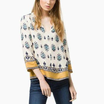 DCCKH3L Fashion Retro Multicolor Flower Print V-Neck Loose Middle Sleeve Women Shirt Tops