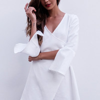 White V-Neck Wrap Around Long Sleeve Shift Dress