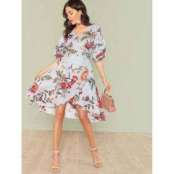 Mixed Print Asymmetrical Ruffle Hem Surplice Wrap Dress
