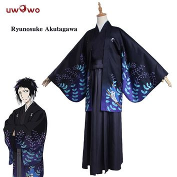UWOWO Ryunosuke Akutagawa Cosplay Bungo Stray Dogs Costume Japanese Kimono Yukata Pajamas Home Wear Bungo Stray Dogs Costume Men