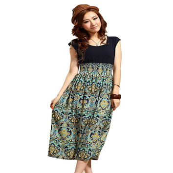 Modern 1X Lady Womens Summer Flower Print Bohemia Sleeveless Vest Maxi Long Dress Aug11