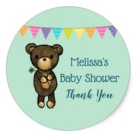 Cute Brown Bear with Yellow Flower Party Thanks Classic Round Sticker