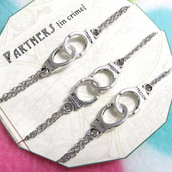 PARTNERS in CRIME - handcuff bracelets set of 3 - Silver Plated double chain - Gift For Friend - Best Friend Gift