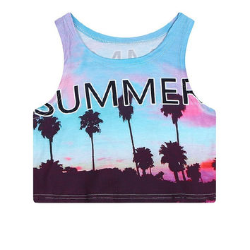 Crop Top Slim Summer Sleeveless Tank Top = 4824054212