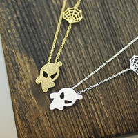 Cute Spiderman and Net necklace in Gold / Silver, N0165G