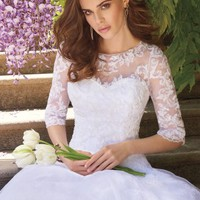 Lace Applique Dress With Illusion Tulle