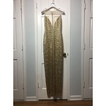 Cristina Pacini gold haute Couture evening gown sz 2/4