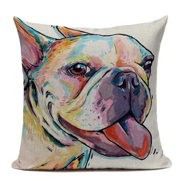 Boston Terrier French Bulldog Painting Pillow B12