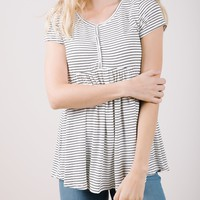 The Reese Striped Peplum in White