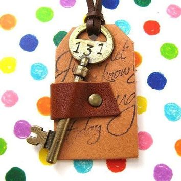 Antique Hotel Key and Leather Luggage Tag Pendant in Brass