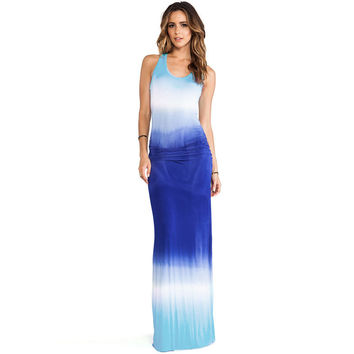 Blue Gradient Racer Back Chiffon Maxi Dress