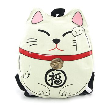 Lucky Cat Backpack Made Of Durable Canvas In Eggshell Color