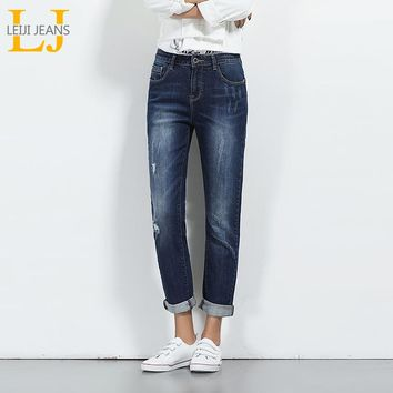 2018 LEIJIJEANS Spring Plus Size Ripped Bleach Moustache Effet Mid Waist Full Length Casual Skinny Straight Women Stretch Jeans