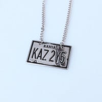 Supernatural License Plate Necklace - KAZ 2Y5 Metal - Pendant Gift - Sam Dean Winchester