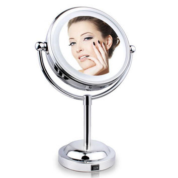 New 6 Inch 1X/3X Magnification Makeup Mirror Cosmetic Mirrors With Led Light Tabletop Rotate 360 Degrees