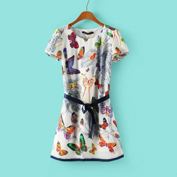 Summer Women's Fashion Butterfly Print Short Sleeve Skirt One Piece Dress [4917802308]