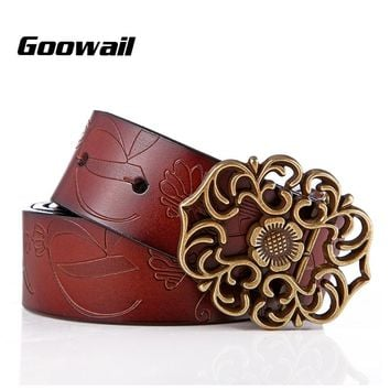Goowail 2017   Genuine leather belt woman vintage Floral carved Cow skin belts women high quality strap female for jeans