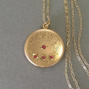 "Antique Victorian LOCKET Necklace, RUBY Paste Locket, Gold Locket Frames Celluloid Covers, 30"" Long Gold Filled CHAIN c.1890s, Gift for Her"