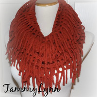 NEW!!  Rust Chenille Tassel Infinity Scarf Sweater Style Winter Womens Accessories