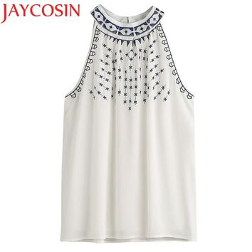 JAYCOSIN Women's Tank Tops Summer Embroidered Sleeveless Thin Shirt Clothing Female Drop Shipping Drop Shipping
