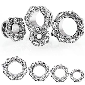 2PCS Steel Ear Plugs and Tunnels with Crystal Screw Flesh Tunnel Silver Ear Expanders Ear Stretching Piercings Sexy Body Jewlery
