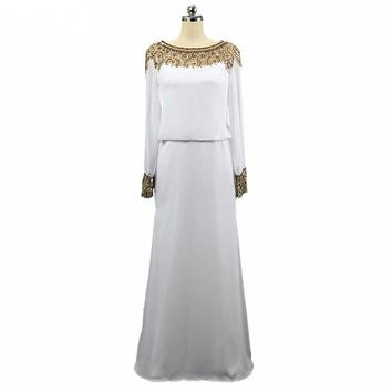 Evening Dress A-line Long Sleeve Evening Dresses Scoop Neck Chiffon White And Gold Prom Dress