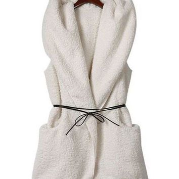 Sleeveless Belted Cashmere Fleece Hooded Coat